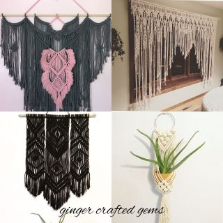 Macrame wall hangings, plant hangers and gifts