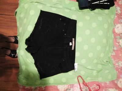 Highway jeans distressed cuts black shorts size 8