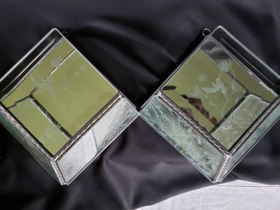 Pair Glue Chip glass lead beveled mirror hummingbird stained glass pictures