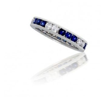 Channel Set Sapphire and Diamond Ring in 14k White Gold (1.65ct. tw.)
