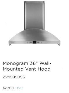 SAVE $500!!! Monogram Vent Hood 36