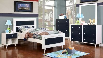 Shop Alivia -Blue/White 5PC Twin Bedroom Collection at Leon Furniture