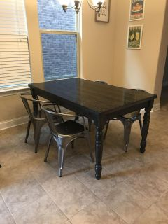 Espresso distressed dining table (chairs not for sale)
