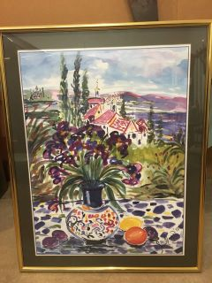 """Beautiful tuscan countryside picture with gold frame. Many shades of purple. 22 1/2"""" wide x 28 1/2"""" high."""
