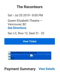 2 Raconteurs tickets Vancouver July 20th