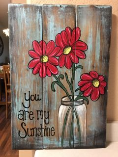 Handmade and hand-painted wood sign