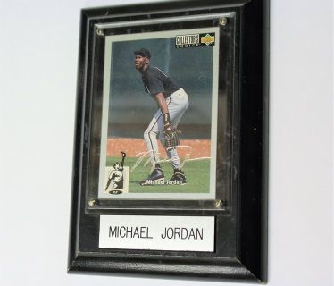 MINT ROOKIE 1994 Michael Jordan Baseball Card Collector's Choice Silver Signature on Wall Plaque...
