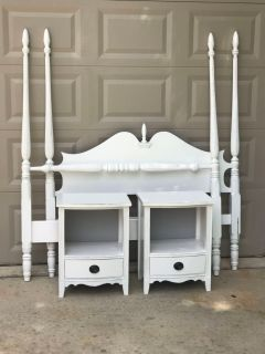 White Full Size Bed w/Pair Nightstands