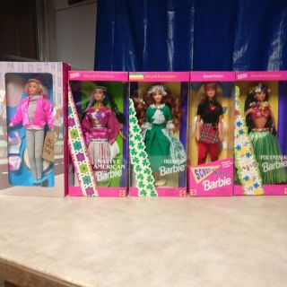 barbie dolls 5 never opened old .