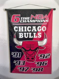 Chicago Bulls Banner 6 time NBA Champions Official Championship Banner