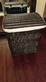 New Dark brown wicker clothes hamper with lining inside and lid