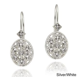 ***BRAND NEW***Sterling Silver Diamond Accent Filigree Oval Leverback Earrings***