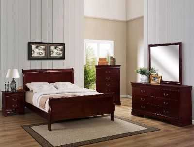 $650, 7pc Solid wood COMPLETE queen or full size- bedroom set  cherry or black