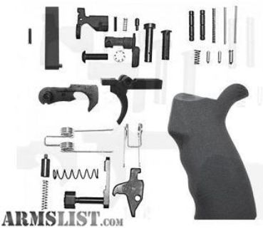 For Sale: AR-15 Lower Receiver Parts Kit- With Right Hand Overmolded Rubber Pistol Grip