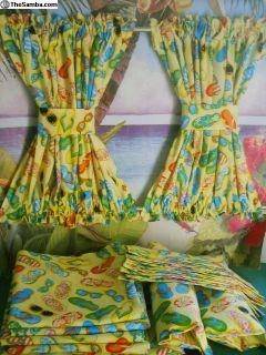 VW Bus Yellow Flip Flop, Sunglass Print Curtains