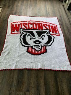Crocheted Wisconsin badgers blanket