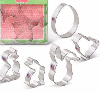 Easter Cookie Cutters - 5 Piece Boxed Set - Chick, Duck, Rabbit, Bunny Face, Egg - Ann Clark - US Tin Plated Steel