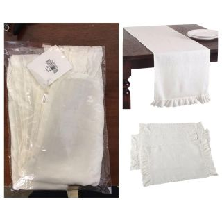 "Ruffled Design Runner Ivory (16""x72"") and 8 placemat (20 x14 )"
