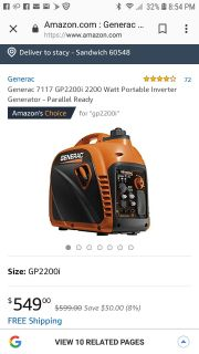 Generac GP2200i 2200 watt portable inverter generator
