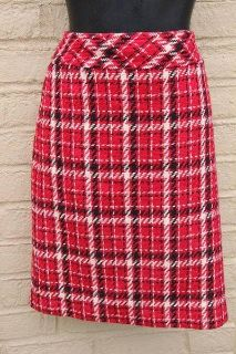"""ADORABLE PLAID RED, BLACK, AND WHITE SKIRT, 9, lined, Waist measures 30"""""""
