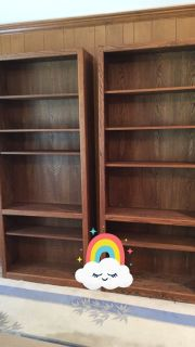 Two wood Bookcases 6' high 3' wide 12 inches deep with six shelves in each.  Good condition.  $50.00
