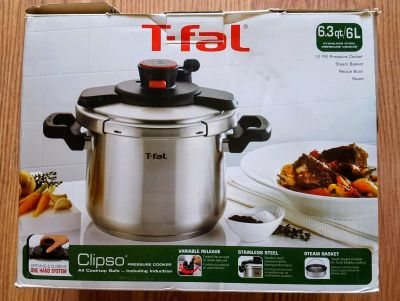 T-fal Clipso Induction Compatible 6.3 Quart Stainless Steel Pressure Cooker (NEW)