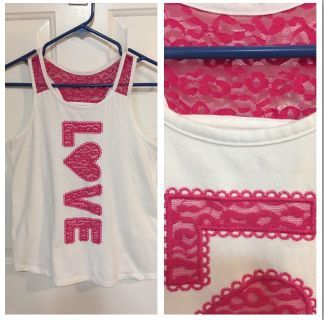 White with Pink Lace Tank with Indented Back - XL - 14-16. Great Shape