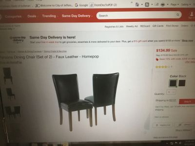 Parsons Black Faux Leather Chairs