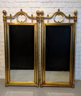 Pair Mid-Century Boho-Chic Gold Mirrors