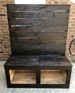 Reclaimed Expresso Wood Storage Bench