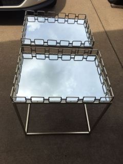 Pair of gold mirrored end tables