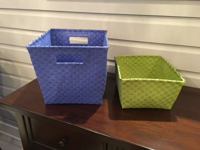 Green Land of Nod Strapping Baskets (3 for sale, 2 sizes)