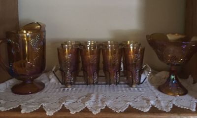Amber carnival glass set