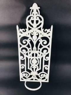 WHITE DECORATIVE METAL PLANT/CANDLE HOLDER