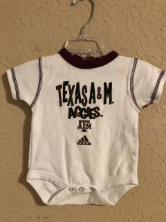 Adidas Texas A&M Aggies Onesie Playsuit. Size 3-6 Months