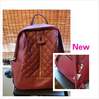 Red/wine Faux Leather Backpack