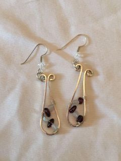 Hand wrapped Sterling Silver and Stone Earrings