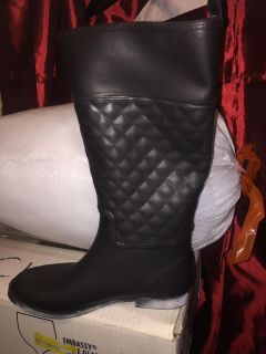 Black rubber riding boots size 9