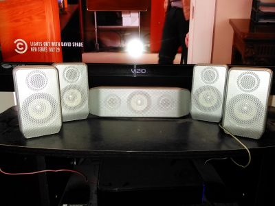 RCA surround sound speakers and subwoofer.