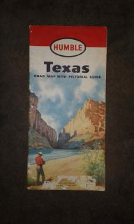 1950s Humble Oil Texas Map