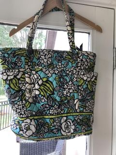 Vera Bradley turquoise black white and green tote bag with pockets all around EUC