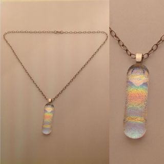 Sterling Silver Rainbow Dichroic Glass Necklace