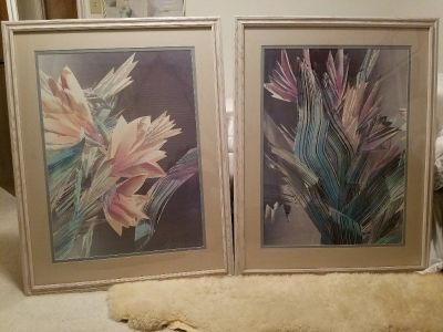 Two flower pictures with white/gold antiqued wooden frames