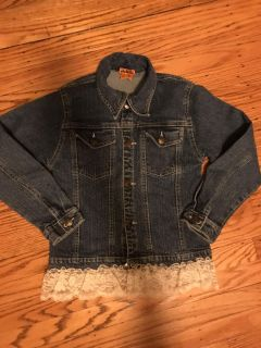 L&c jean jacket with lace accent size 10/12