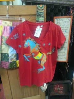 Crazy Horse hand-painted red shirt