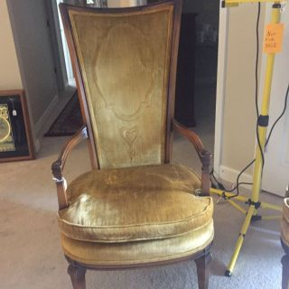 Antique Velvet High Back Chairs