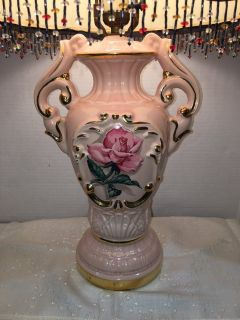 Vintage Porcelain Rose Lamp