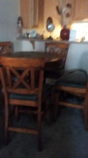 Solid wood with square solid inlays..Round table with 4 chairs,Pub Set