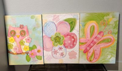 Set of 3 girls canvas paintings