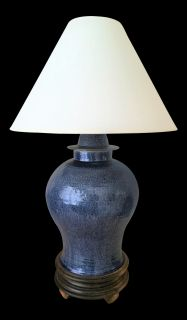 1960s Japanese Blue Temple Jar Lamp
